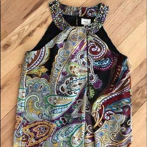 ECI New York sleeveless beaded blouse